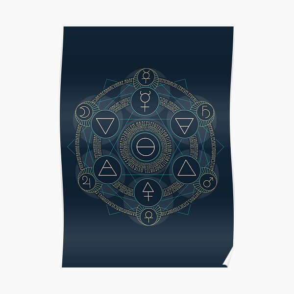 Emerald Tablet alchemy circle blue Poster