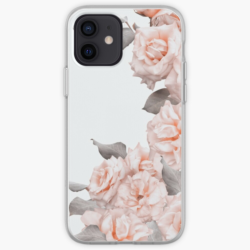 Shabby Chic Vintage Blush  Roses Frame on White iPhone Case & Cover