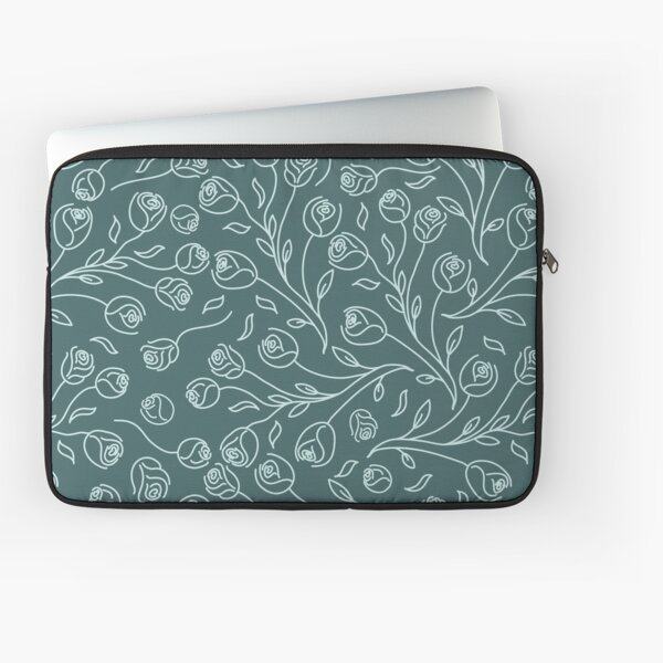 Pine & Mint Roses Collection Floral Seamless Surface Pattern Laptop Sleeve