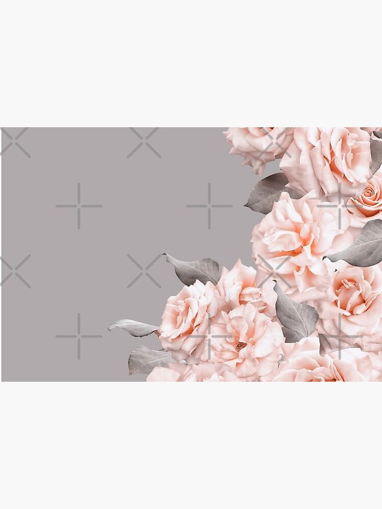 Shabby Chic Vintage Peach Roses Frame on Gray by UtArt