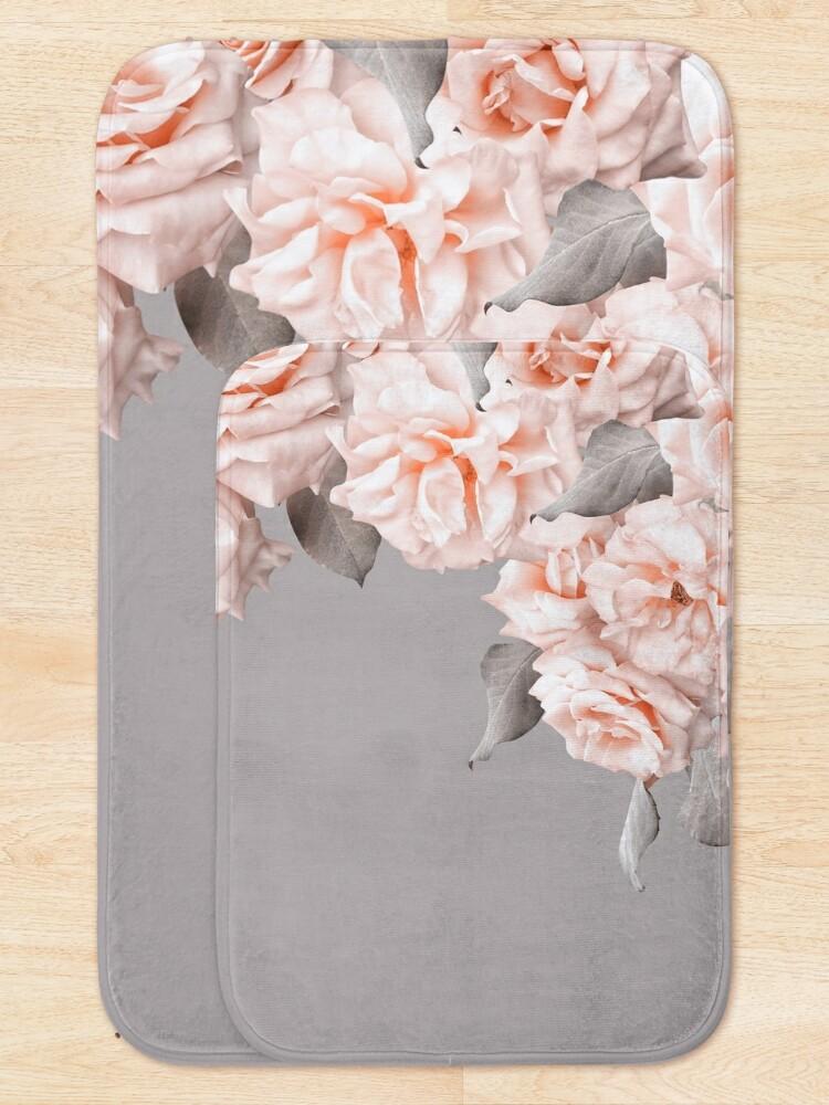 Alternate view of Shabby Chic Vintage Peach Roses Frame on Gray Bath Mat