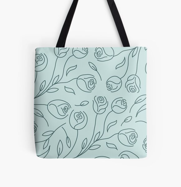 Pine & Mint Roses Collection Floral Seamless Surface Pattern All Over Print Tote Bag