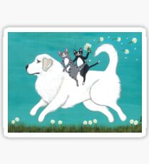 Great Pyrenees and Cats Sticker