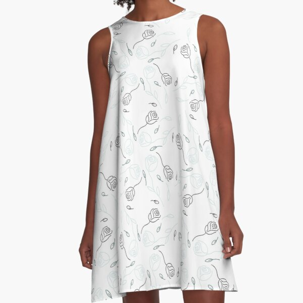 Pine & Mint Roses Collection Floral Seamless Surface Pattern A-Line Dress