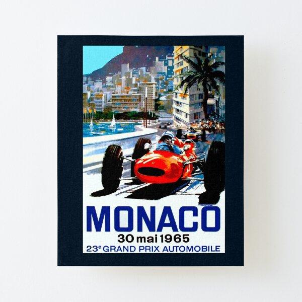 """MONACO GRAND PRIX"" Vintage Auto Racing Print Canvas Mounted Print"