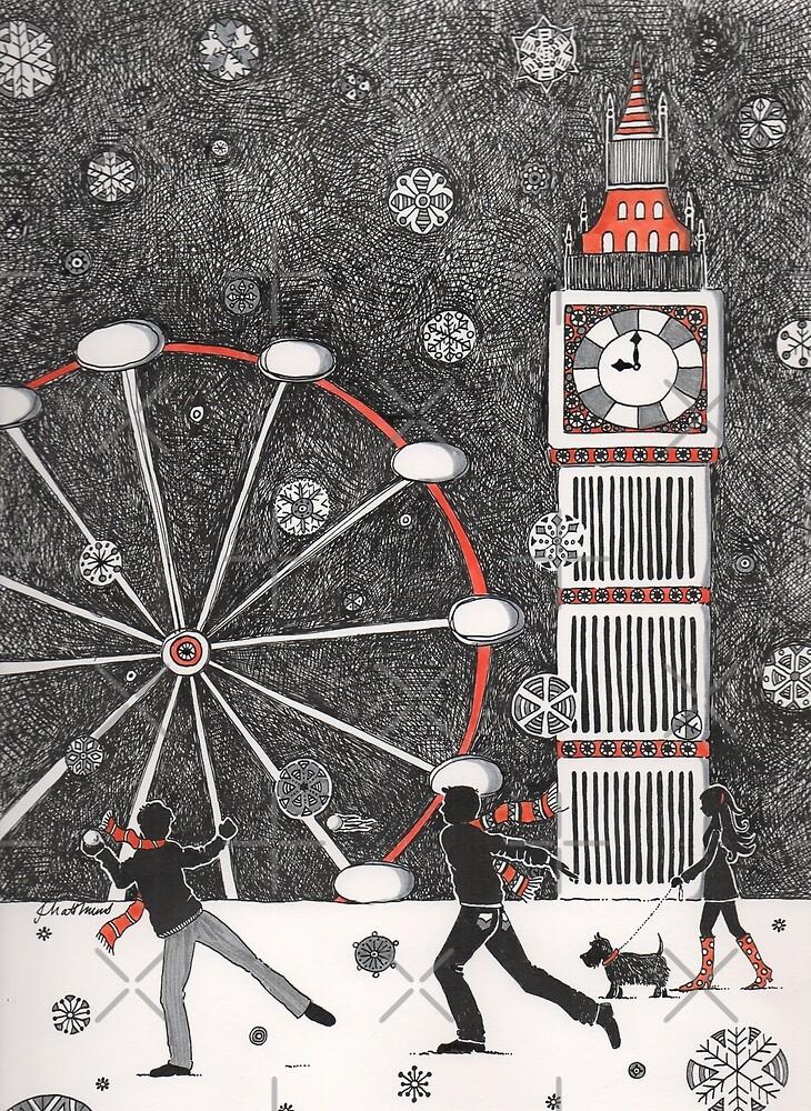 Snowball fighting in London by Judit Matthews