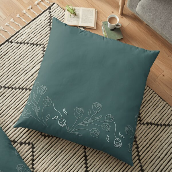Pine & Mint Roses Collection Floral Seamless Surface Pattern Floor Pillow