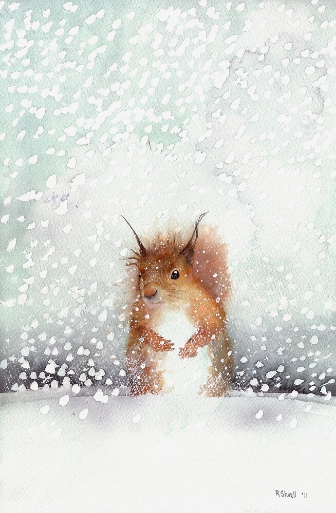 Red Squirrel in the Snow, or, Who Stole My Nuts? by Ray Shuell