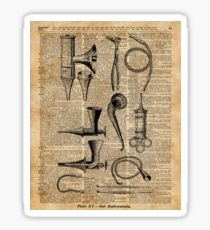 Vintage Medical Kits,Ear Instruments,Surgery Decoration,Dictionary Art,Zombie Apocalypse,Halloween,Card,Gift Sticker