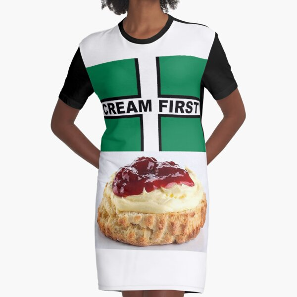 Cream First Scone with Devon Flag of Saint Petroc Statement T-Shirt, Mask, Poster, Sticker, Print, poster etc Graphic T-Shirt Dress