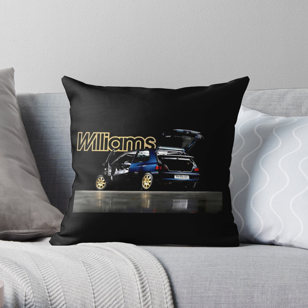 Renault Clio Williams Throw Pillow By Throwbackm2 Redbubble