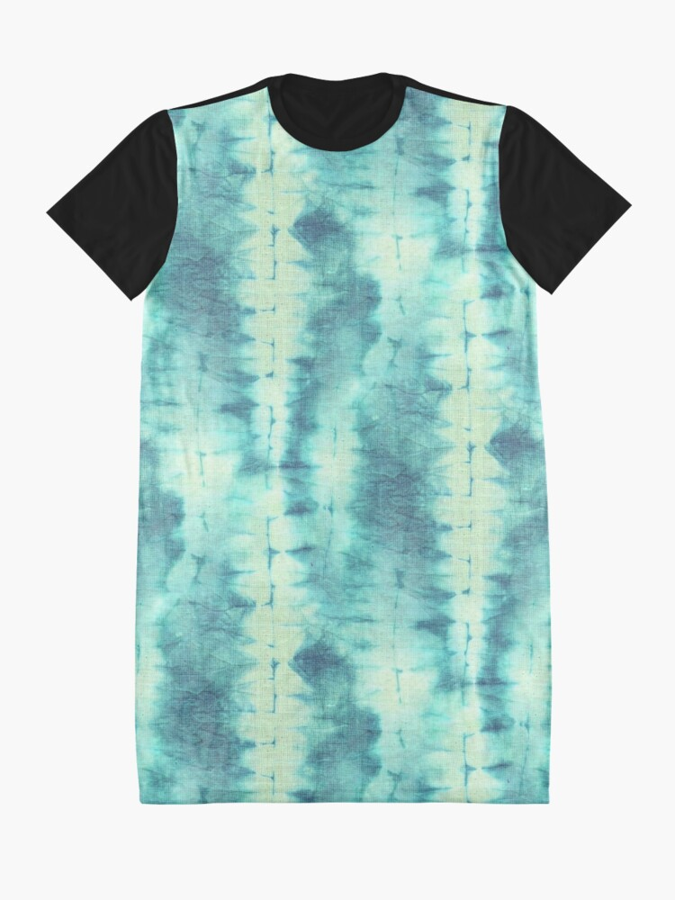 Alternate view of Tie Dye in Turquoise and Cream. Psychedelic, artsy, boho design. Ready for a Hippy summer! Graphic T-Shirt Dress