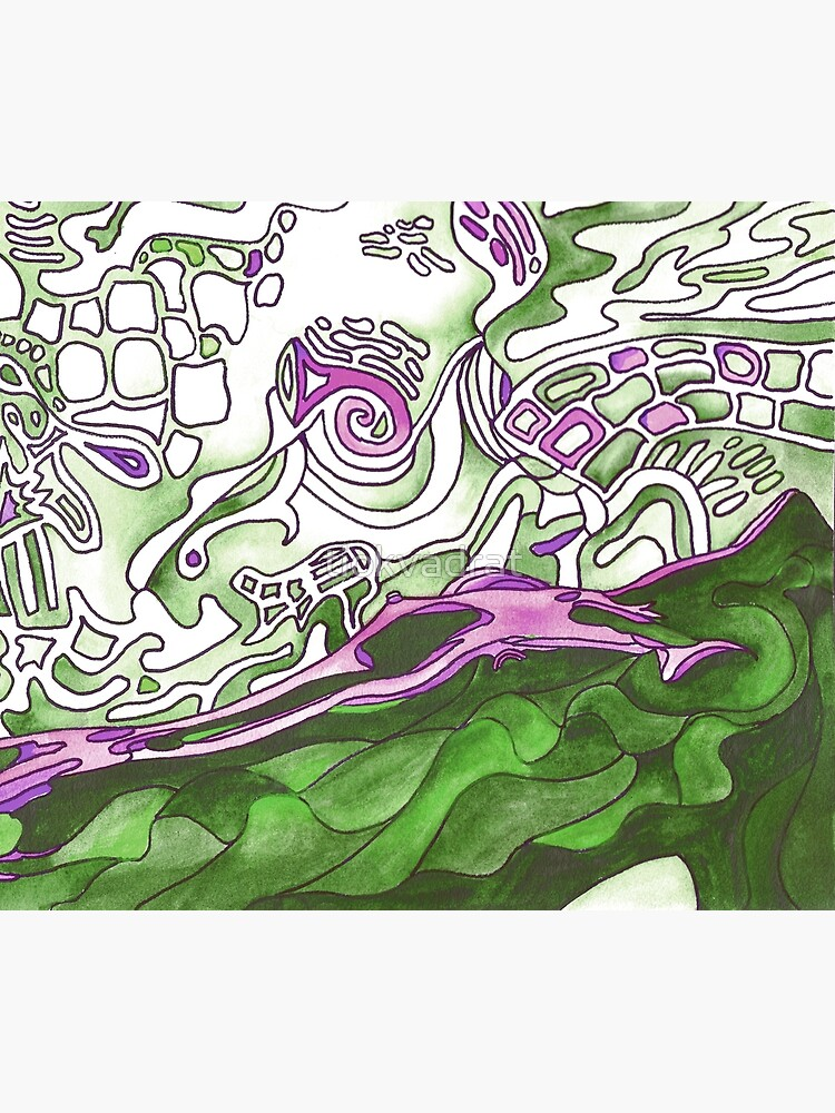 Reclining Woman in Green, White and Purple. Stunning psychedelic design. From original artwork. by tiokvadrat