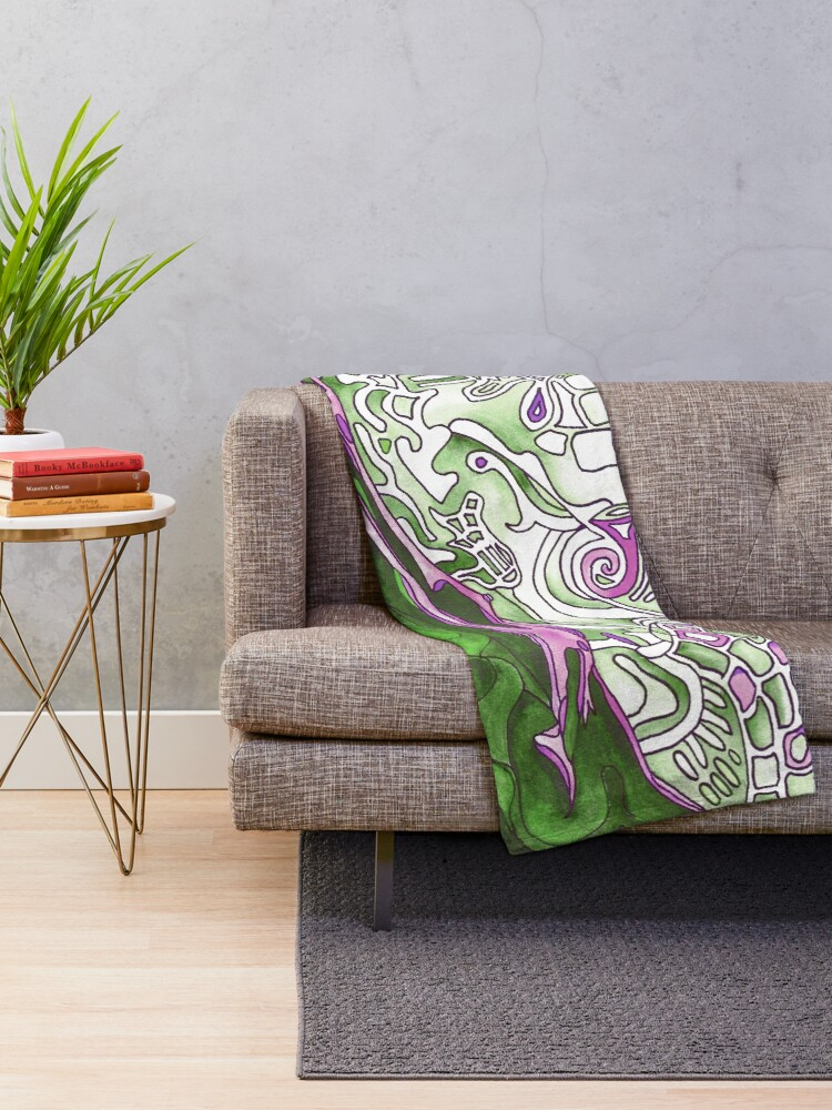 Alternate view of Reclining Woman in Green, White and Purple. Stunning psychedelic design. From original artwork. Throw Blanket