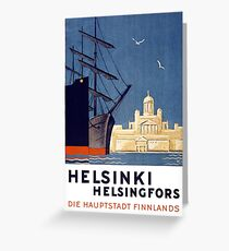 Helsinki Vintage Travel Poster Restored Greeting Card