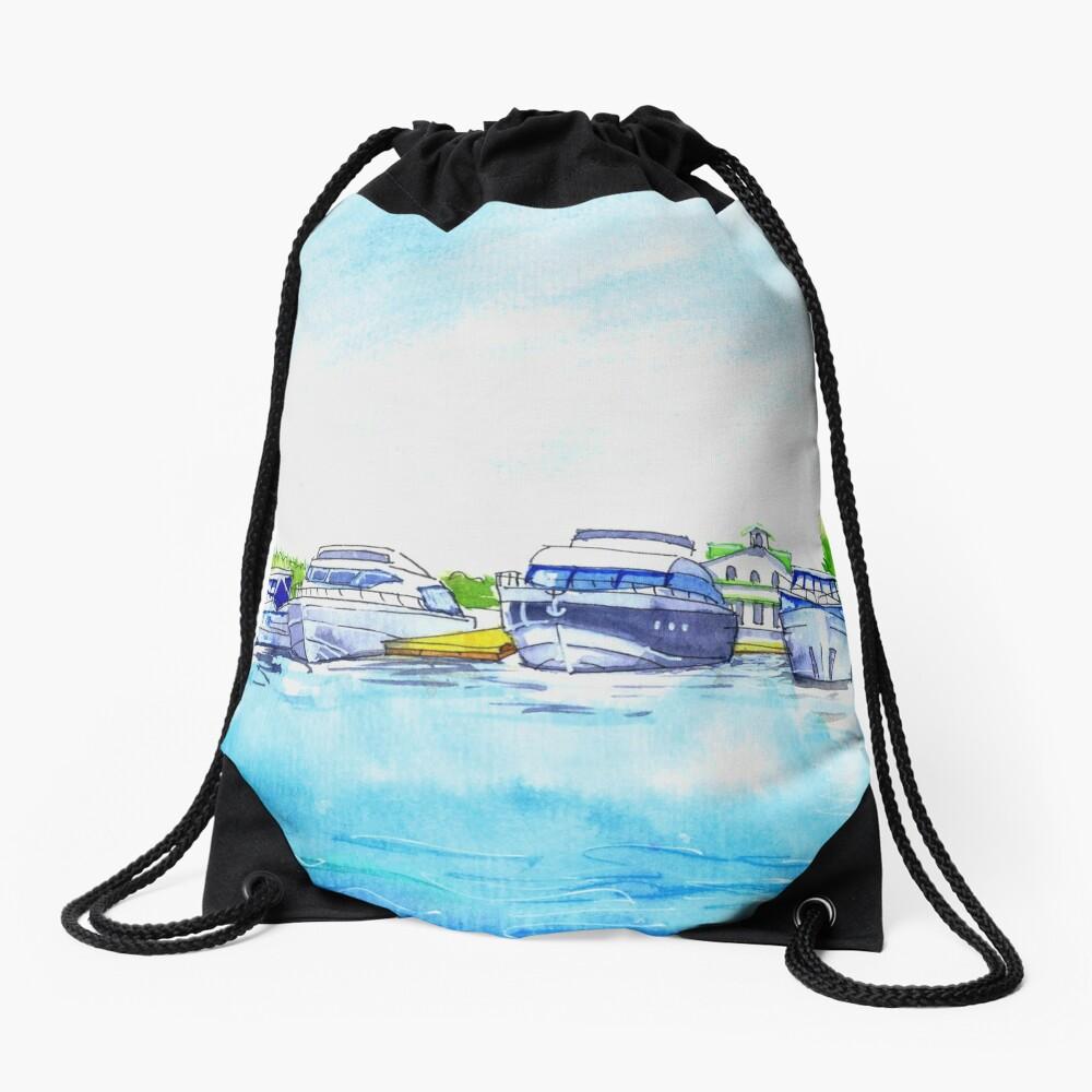 Summer watercolor sketch with yachts. Drawstring Bag