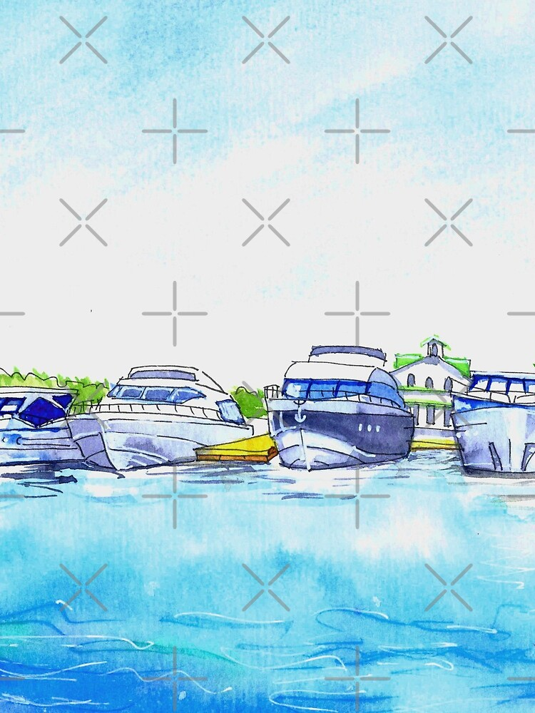 Summer watercolor sketch with yachts. by fararoc