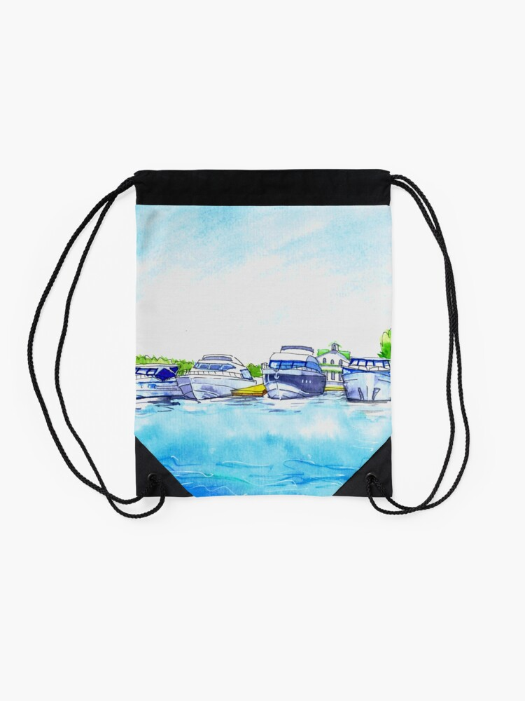 Alternate view of Summer watercolor sketch with yachts. Drawstring Bag