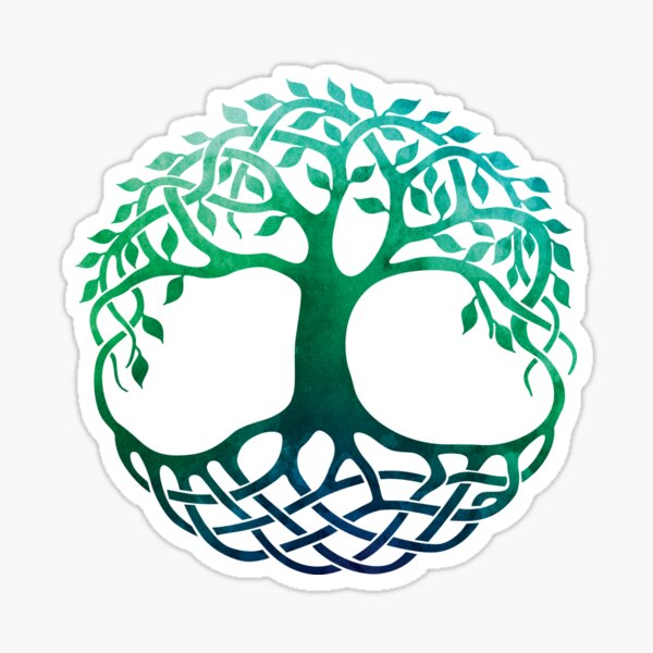 Celtic Tree of Life Watercolor Blue Green Sticker