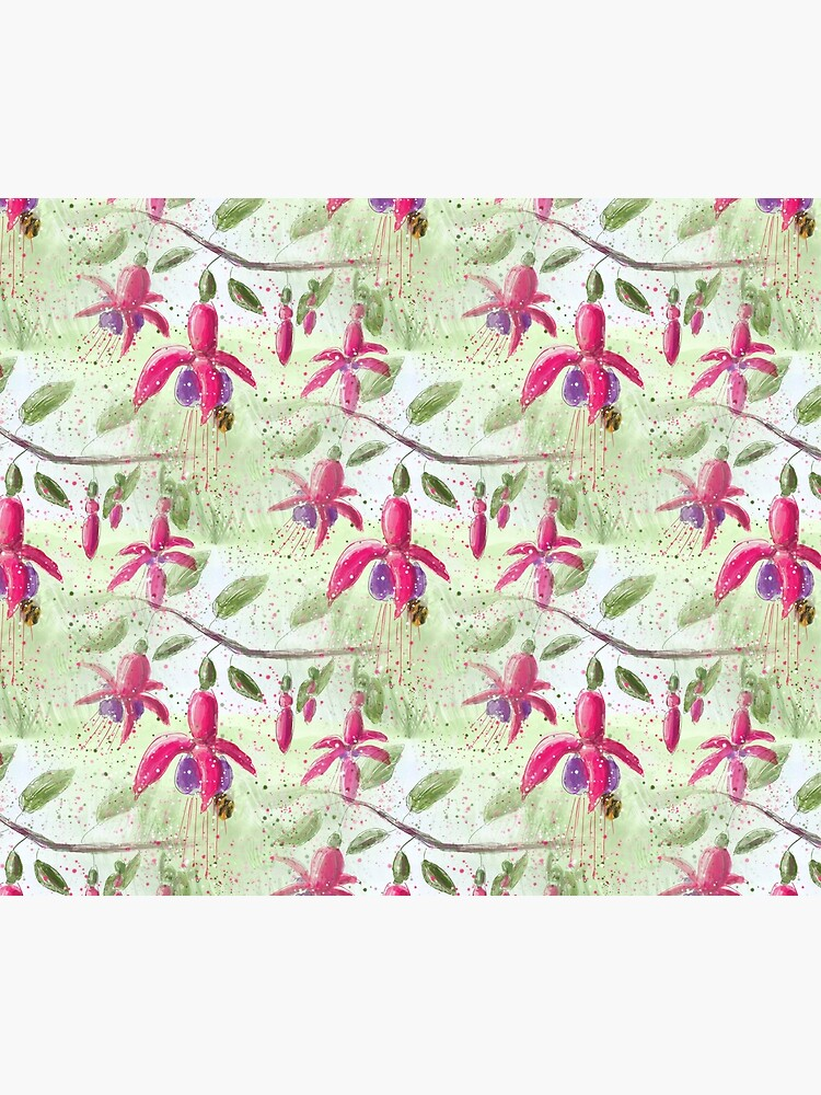 Whimsical Fuschia Floral Pattern by ClareWalkerArt