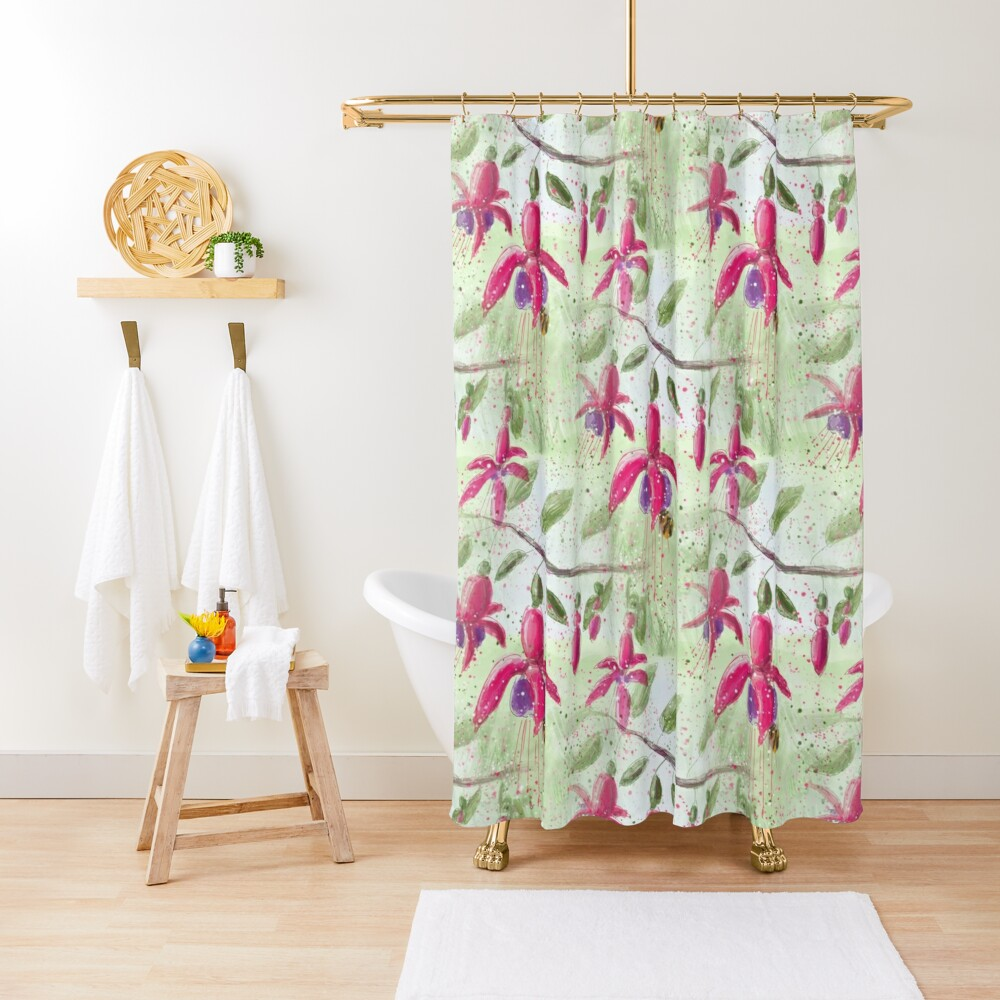 Whimsical Fuschia Floral Pattern Shower Curtain