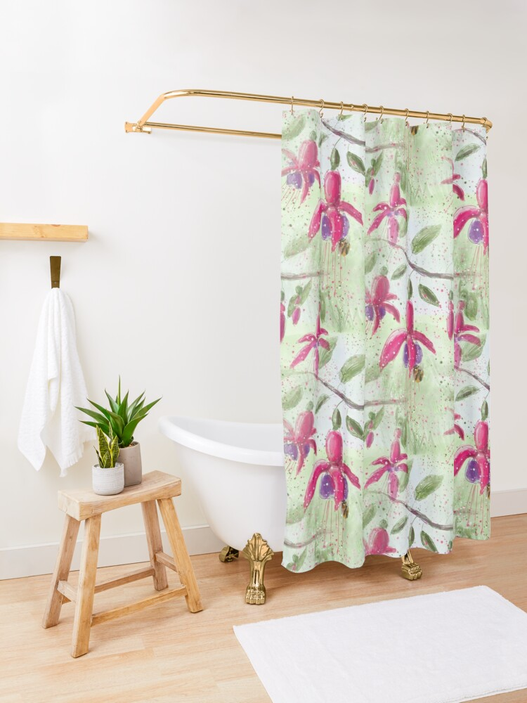Alternate view of Whimsical Fuschia Floral Pattern Shower Curtain