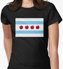Chicago Teacher Flag - colors OTHER THAN red Women's Fitted T-Shirt