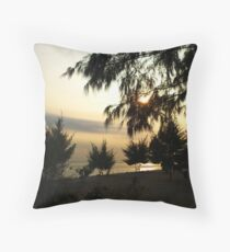 Sunset behind a tree Throw Pillow