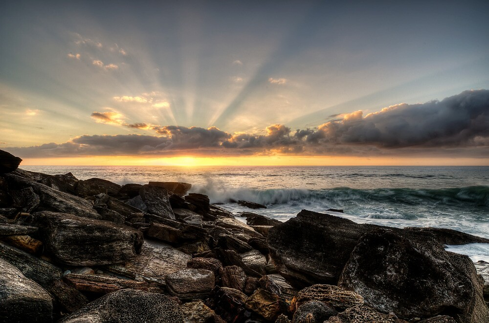 Bungan Beach Sunrise Sunrays by Jason Ruth