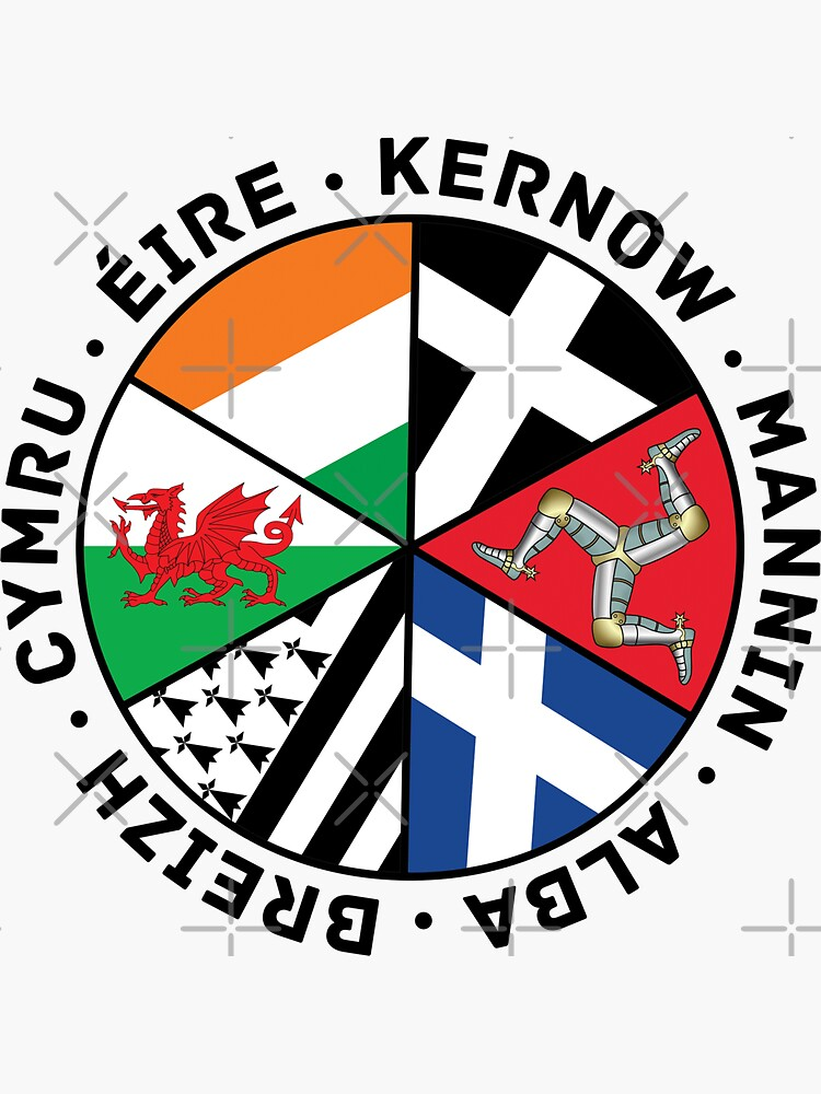 Celtic Nations Flags, Wales, Scotland, Cornwall, Isle of Man, Ireland and Brittany, by Celticana