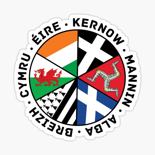 Celtic Nations Flags, Wales, Scotland, Cornwall, Isle of Man, Ireland and Brittany, Sticker