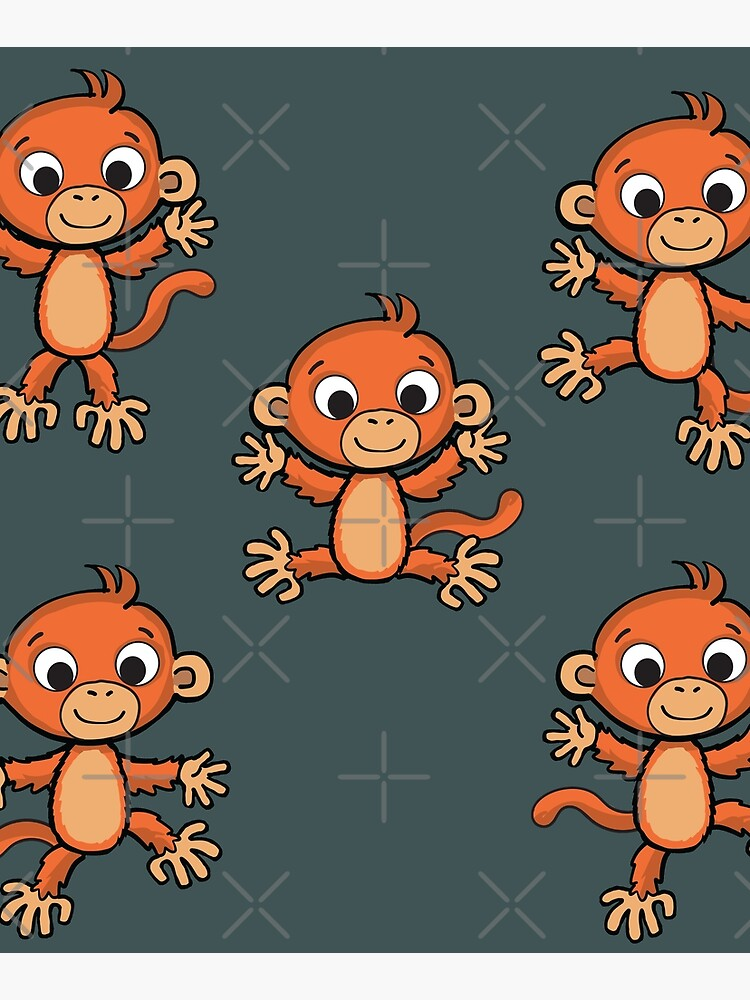 cheerful little monkey in various poses by duxpavlic