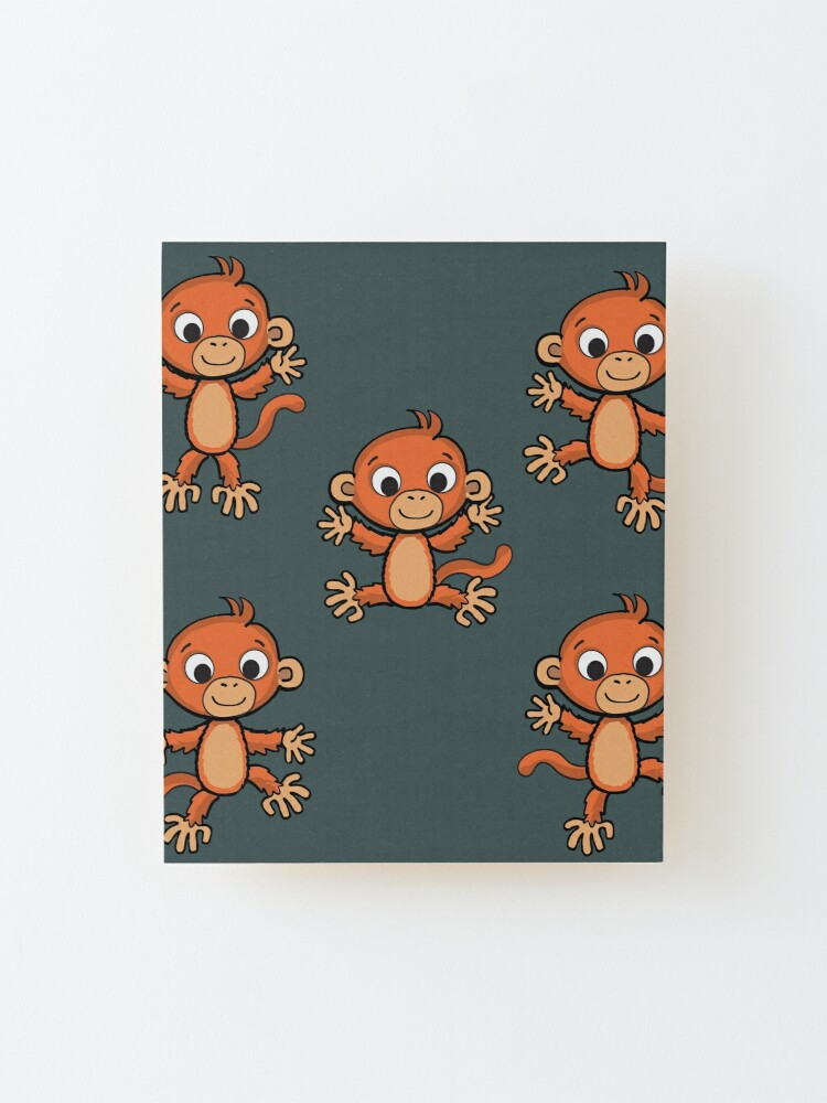 Alternate view of cheerful little monkey in various poses Mounted Print