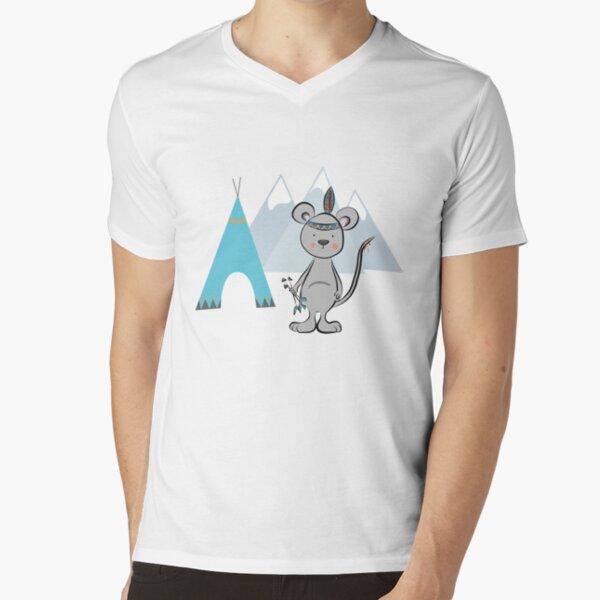 Indianer Maus T-Shirt mit V-Ausschnitt