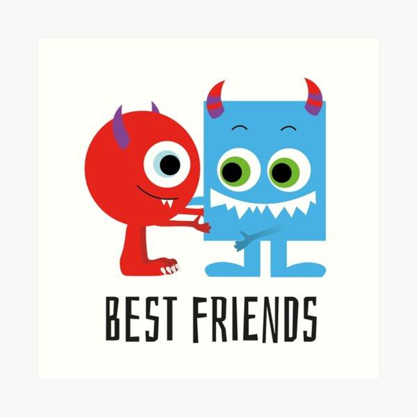 süße Monster Freunde, best friends Kunstdruck