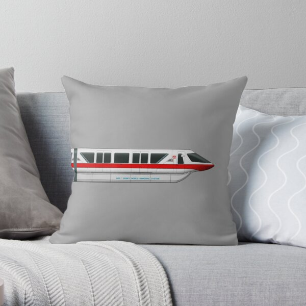 Monorail Red Throw Pillow