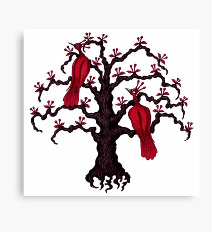 Red Birds in Love surreal black and red ink pen drawing Canvas Print