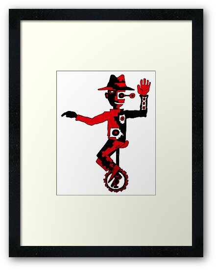 Self Balance surreal black and red pen ink drawing  by Vitaliy Gonikman