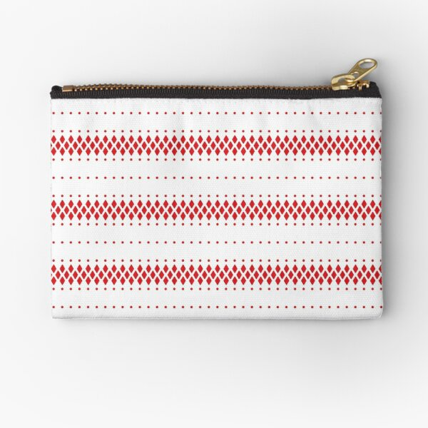 Red and white ethnic boho pattern Zipper Pouch