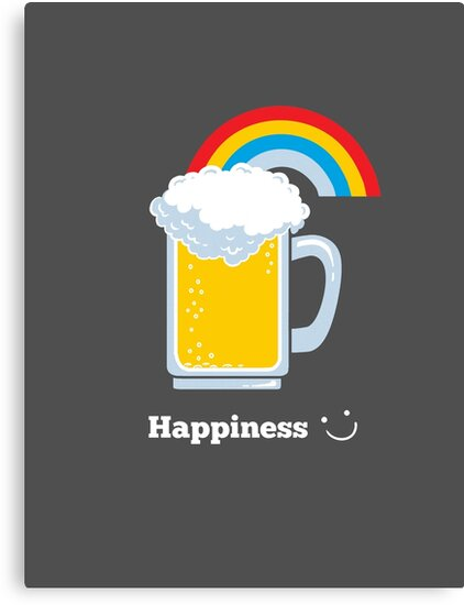 Happiness | Cute Beer with Rainbow by BootsBoots