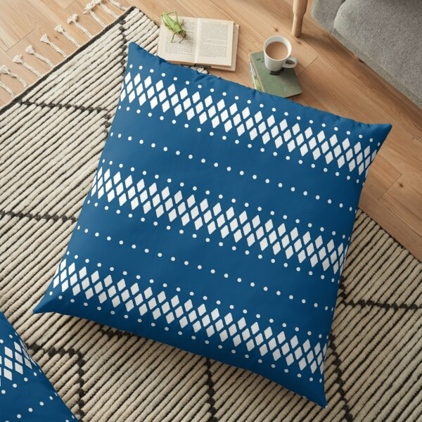 Classic blue and white ethnic boho pattern Floor Pillow