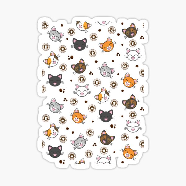 Happy Cats   Hot Coco Coffee Beans Pattern Sticker