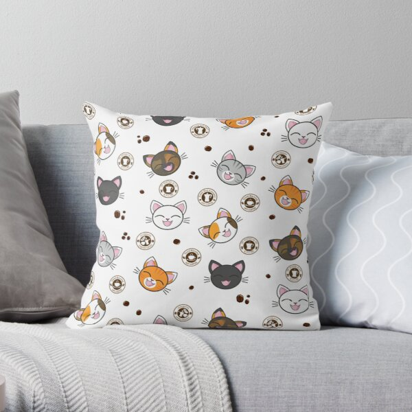 Happy Cats | Hot Coco Coffee Beans Pattern Throw Pillow