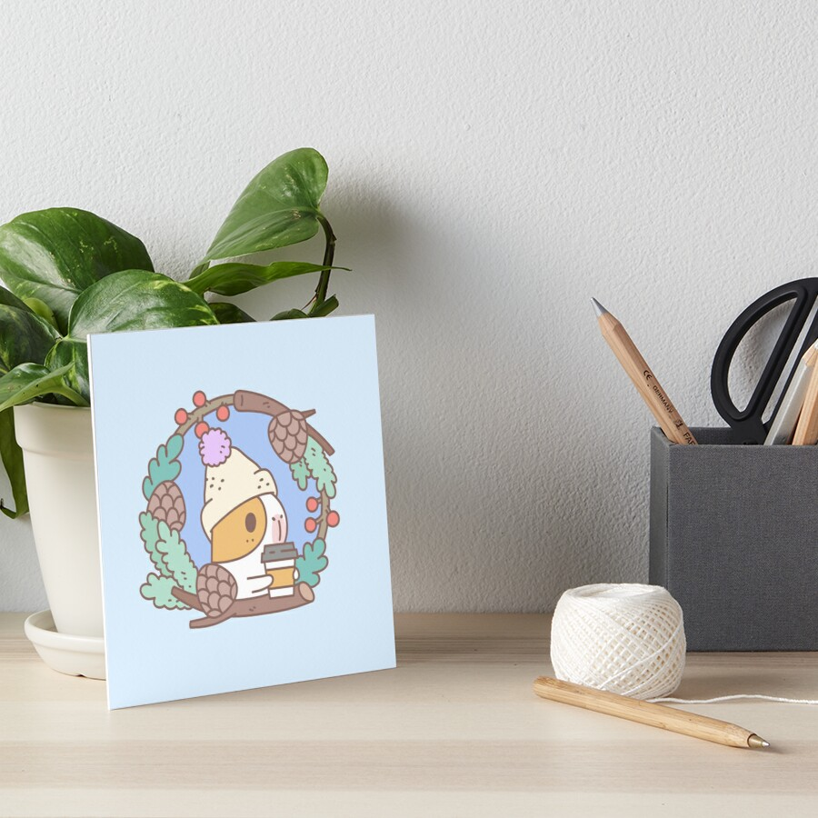 Bubu the Guinea pig, Fall Coffee  Art Board Print