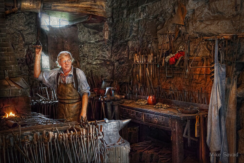 Blacksmith - Working the forge  by Michael Savad