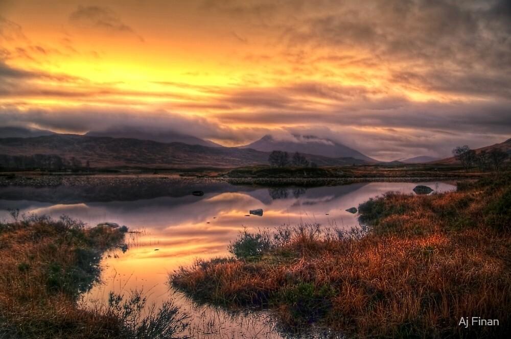 Golden Sunrise Over Loch Ba by Aj Finan