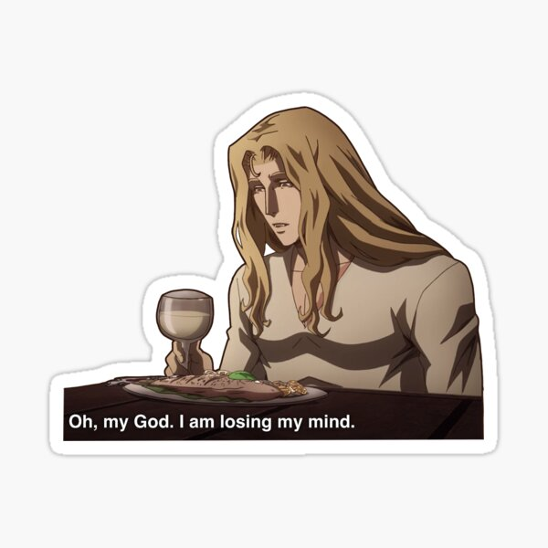 Alucard Losing His Mind Sticker