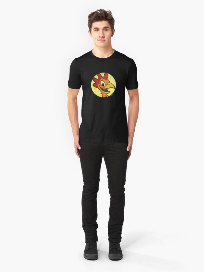 Alternate view of Shanker Processed Chicken in a Circle Slim Fit T-Shirt