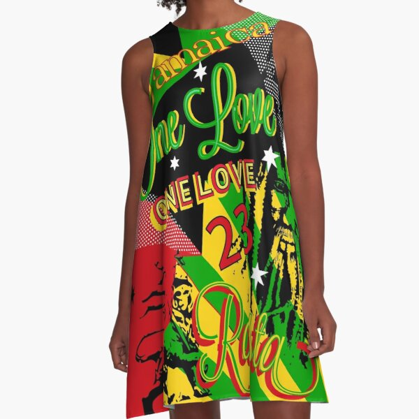Jamaican Rasta One Love Party A-Line Dress