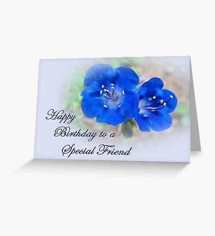 Friend Birthday Card - Blue Floral Greeting Card